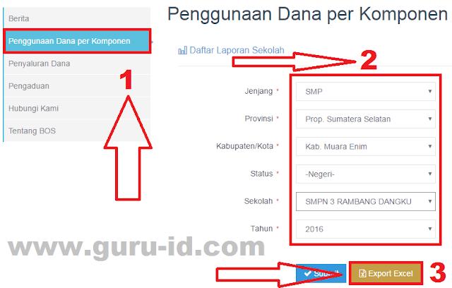 gambar cara cetak laporan per komponen bos online kemdikbud