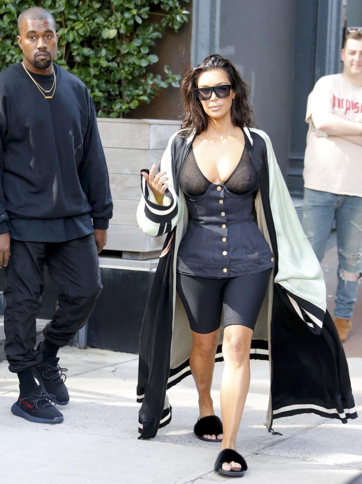 Kim Kardashian Shows Off Her Black Intimates in See