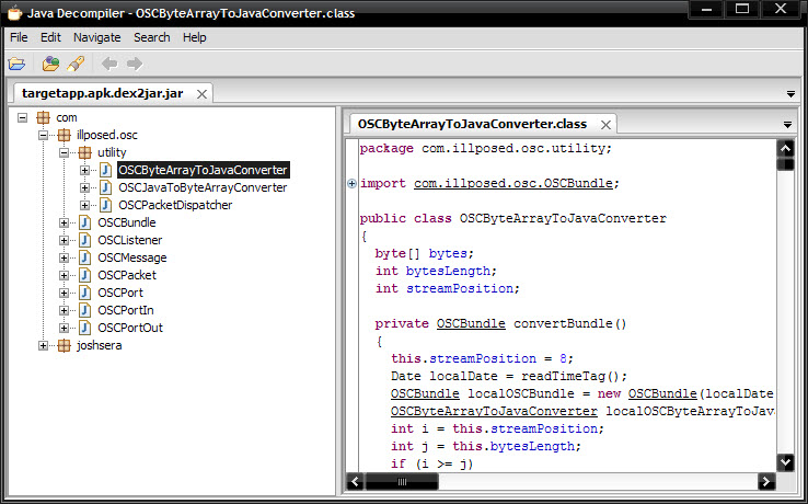 Decompiling android jar file