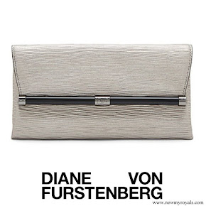 Crown Princess Mary carried DIANE VON FURSTENBERG Envelope Metallic Twig Leather Clutch in Granite Metallic