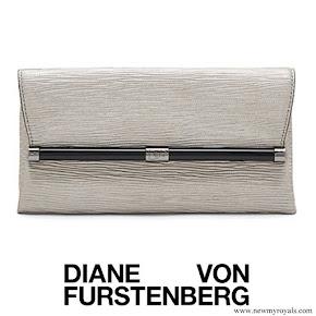 Crown Princess Mary carried DIANE VON FURSTENBERG Envelope Metallic Twig Leather Clutch in Granite Metallic