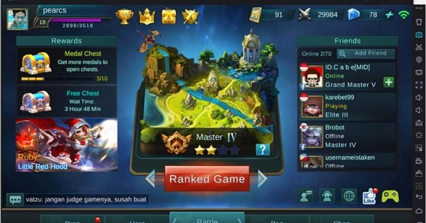 tips and trick game: cara main mobile legend di pc tanpa lag
