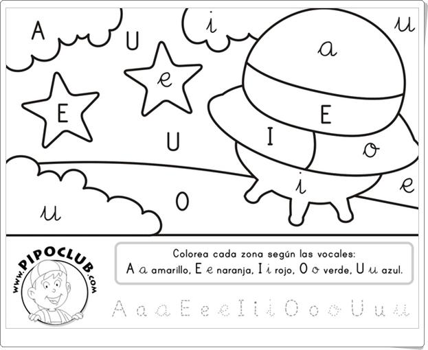 COLOREA LAS VOCALES (Ficha de Infantil de Pipo)