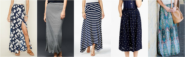 Forever 21 Floral M-Slit Maxi Skirt $23 - alternate print Gap Colum Stripe Maxi Skirt $35 (reg $50) - it's hard to see the stripes from the tiny pic, click the link to see a larger pic INC Asymmetrical Maxi Skirt $46 (reg $70) - save an extra 20% with code BLOOM J. Crew Midi Skirt in Polka Dot $56 (reg $110) Shabby Apple Mosaic Maxi Skirt $75