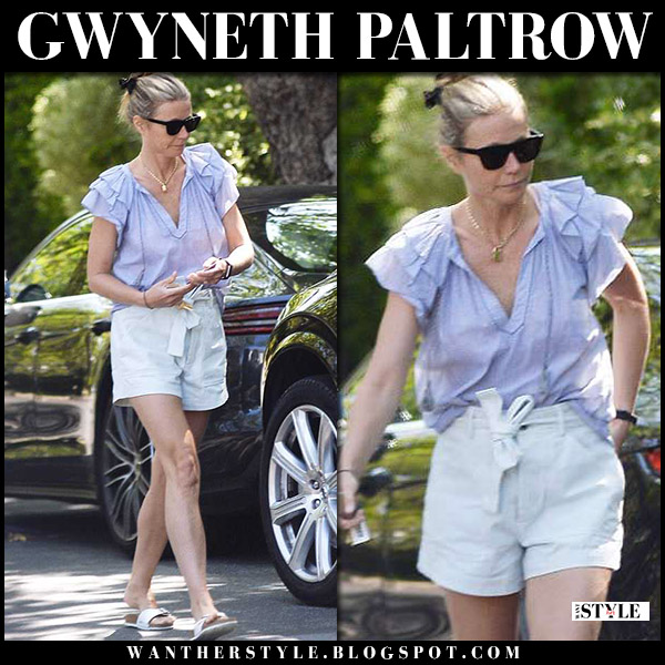 Gwyneth Paltrow in blue ruffled top, shorts and white sandals birkenstock street style june 3