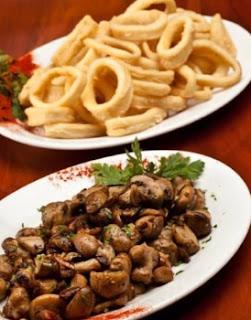 Rabas y champignones a la plancha en Tancat