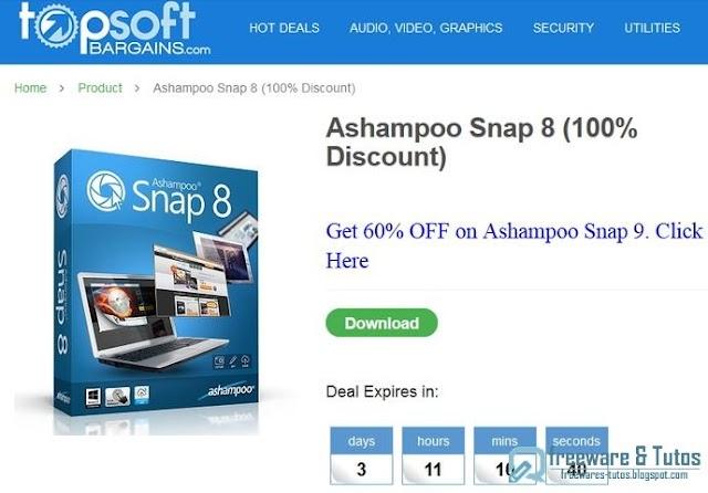 Offre promotionnelle : Ashampoo Snap 8 gratuit !