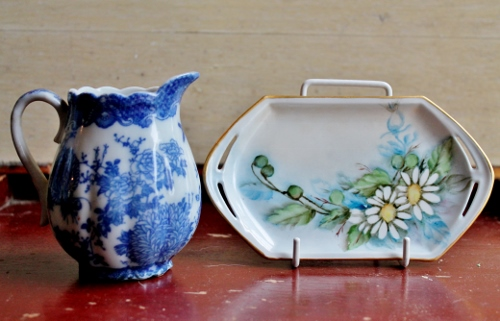 vintage transferware creamer and hand-painted porcelain dish from Czech