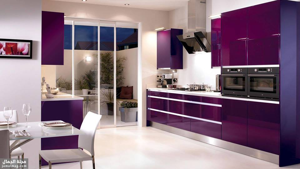 Beau Divine Purple Kitchen Designs In Contemporary Style 2016