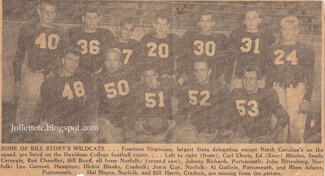Davidson College Football Team 1946 https://jollettetc.blogspot.com