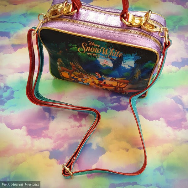 back of Snow White handbag with longer detachable strap visible