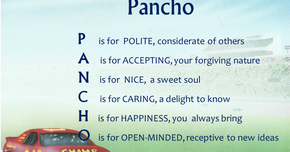 Acrostic name poems for boys pancho
