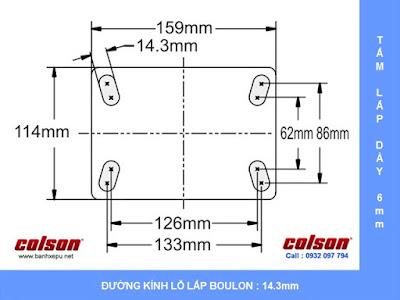 Bảng vẽ kích thước bánh xe công nghiệp cao su đặc chống xóc chịu lực (350~400kg) www.banhxepu.net