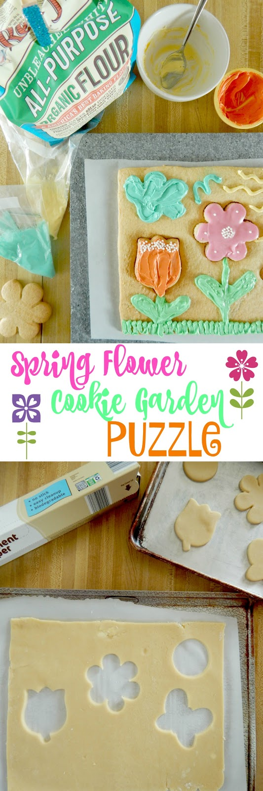 Spring Flower Cookie Garden Puzzle...have an itch for Spring?  This fun-filled baking project is great for moms and kids!  Who knew you could make a puzzle with cookie dough? (sweetandsavoryfood.com)