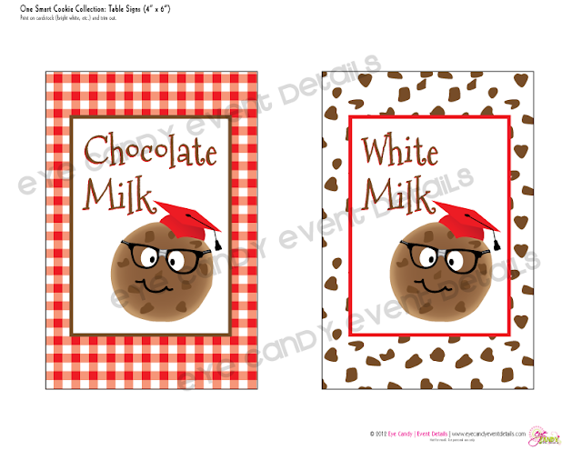table signs for one smart cookie, chocolate milk sign, white milk sign