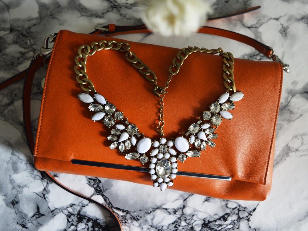 "perfect evening bag, ""Lucy"" by Picard-Lederwaren with some statement Necklace.... the perfect evening bag"