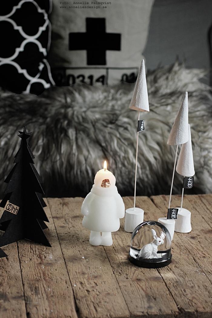 snowdoll, ljus, jul, julen, julpynt, advent, annelies design, webbutik, webbutiker, webshop nätbutik, nätbutker, nettbutikk, nettbutikker, gran, granar, Oohh, julen 2016, vardagsrum, soffbord, soffbordet, vitt, svart, grått,