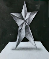 Step by step tutorials for to draw star in 3d on paper, drawing for begginers, kids drawing, easy to draw