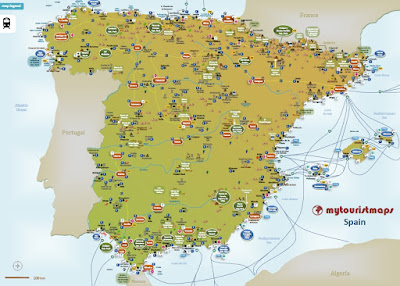 interactive tourist travel map SPAIN