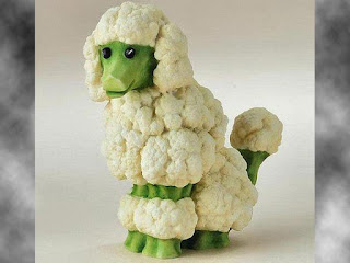 broccoli vegetables carving sheep arts pictures