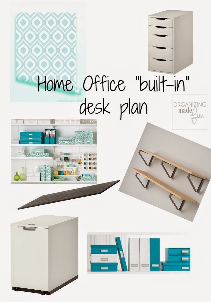 Home Office Built In Desk Plan :: OrganizingMadeFun.com