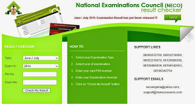 """With the details on the scratch card, follow the below procedures.  1. Visit the NECO Exam result checking Portal by clicking here  2. Select Examination Type (i.e Nov/Dec)  3. Select year of examination (i.e. 2016)  4. Enter your card PIN number  5. Enter your Examination Number  6. Then Click on """"Check My Result"""" button. Your NECO Nov/Dec 2016 result will then appear on your Computer screen."""
