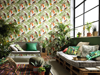 Papel Pintado Tropical con aves y piñas ref. 6302-07