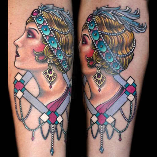 Esta cor pastel, flapper girl tatuagem