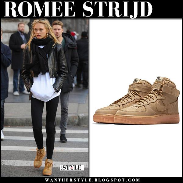 Romee Strijd in brown suede Nike air force 1 sneakers model street style december 2