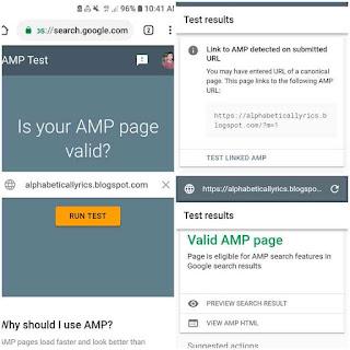 Google amp test validator