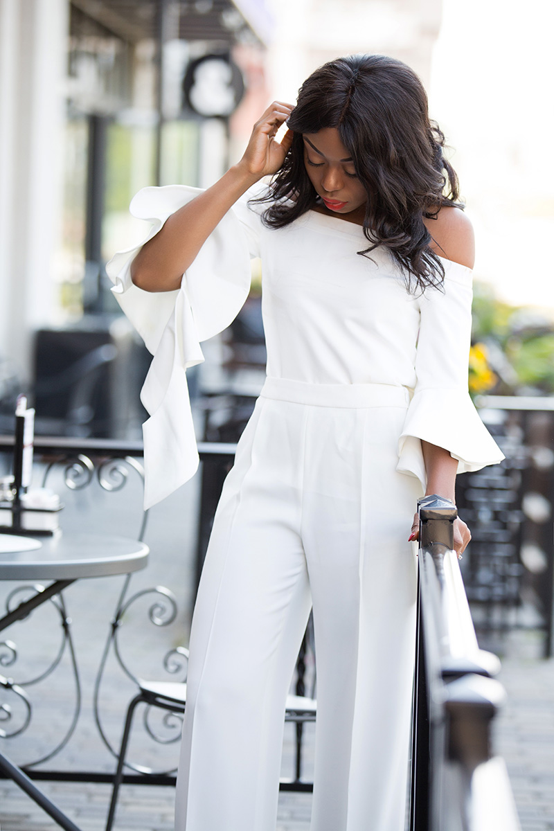 off shoulder top, white pants, www.jadore-fashion.com