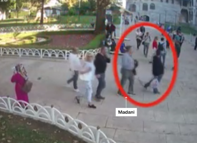 "Madani and the other suspect carrying a plastic bag near the Blue Mosque in Istanbul according to CCTV ""CNN"""