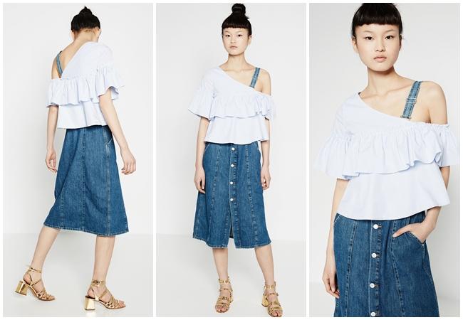Zara 2016 不對稱條紋上衣 歐美街拍