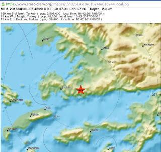 tremblement de terre de magnitude 5,3 à 15 kilomètres de Bodrum