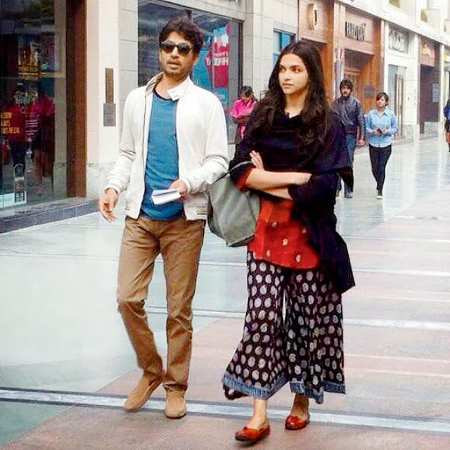 irrfan and deepika padukone on the sets of piku' which is being shot in new delhi 