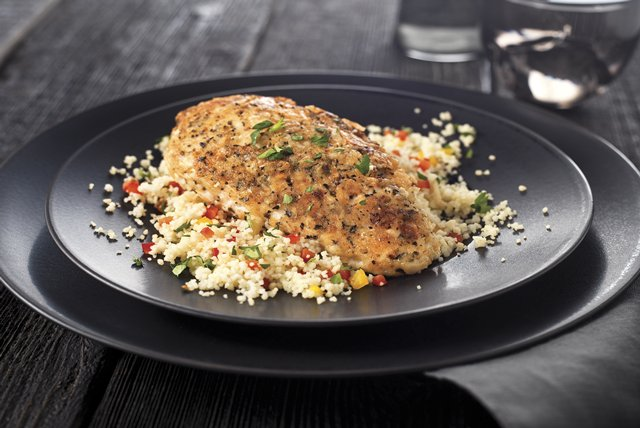 Boneless chicken breasts are cooked in a flavorful coating of bread crumbs Mediterranean Chicken Breasts Recipe
