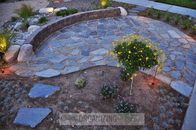 Front yard with sitting wall and flagstone patio :: OrganizingMadeFun.com