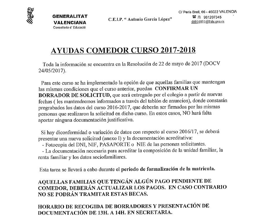 CEIP ANTONIO GARCÍA LÓPEZ (VALENCIA): AYUDAS DE COMEDOR