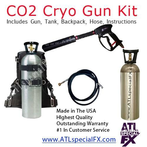 DJ Party Equipment Package - Mobile Handheld CO2 Gun + 20lbs CO2 Tank + CO2 Backpack + 25 FT Hose