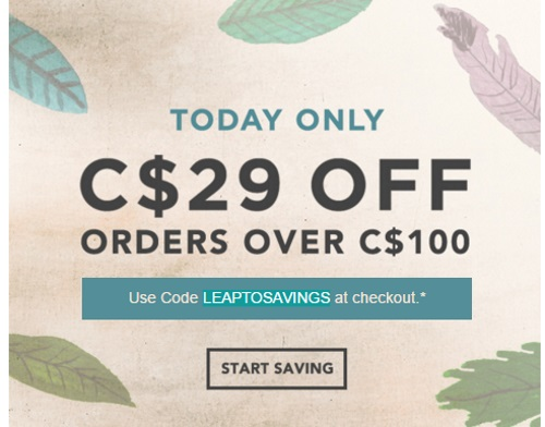 Starbucks Store Leap Day $29 Off Promo Code