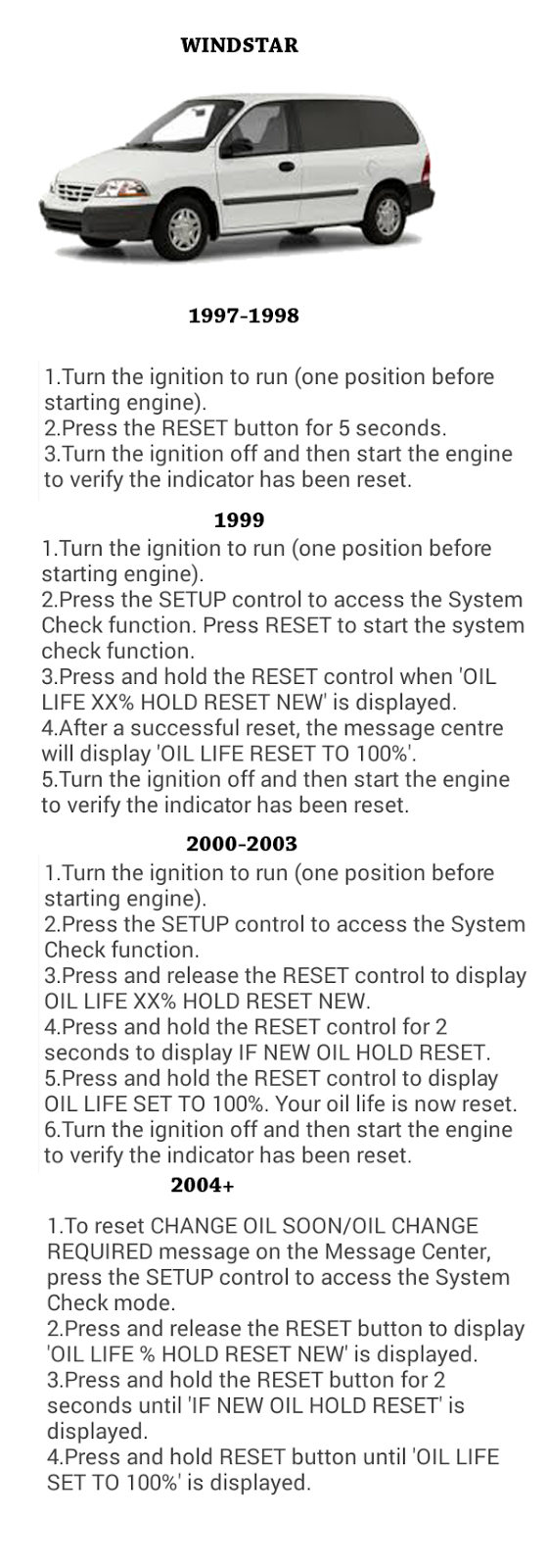 Complete oil reset guide for ford cars ford windstar