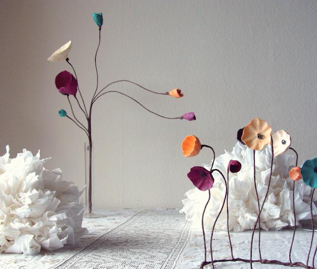 Matrimonio Green: centrotavola di carta , fiori su stelo, bouquet. Tendenze colore  2017-2018