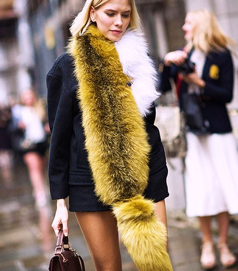fur stole fashion looks