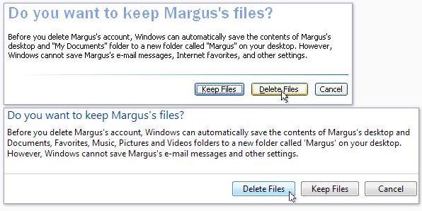 """Windows XP, comptes utilisateur, voulez-vous garder les fichiers. Cliquez sur «Conserver les fichiers» si vous souhaitez enregistrer les documents de l'utilisateur et les contenus du bureau dans un dossier de votre bureau. Si vous souhaitez effacer tous les fichiers, cliquez sur """"Supprimer les fichiers""""."""