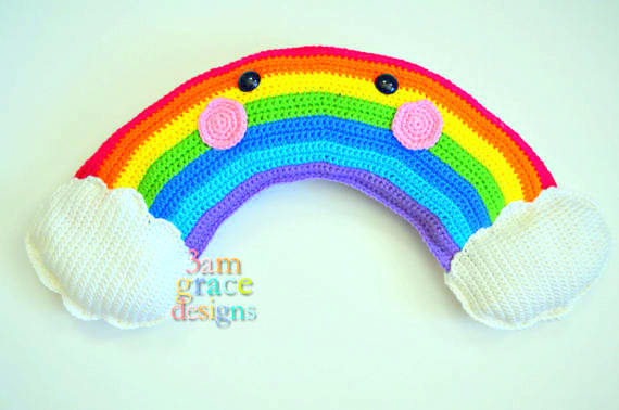 rainbow Kawaii Pillow Cuddler Crochet Pattern