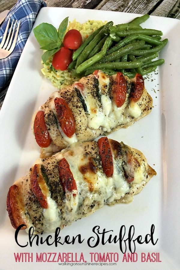 Hasselback Chicken stuffed with mozzarella, tomato and basil from Walking on Sunshine Recipes.