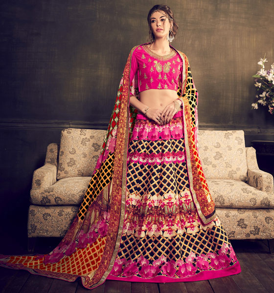 Embroidered Blouse and Printed Lehenga