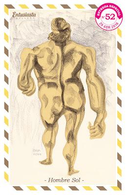 Hombre de espaldas, desnudo y amarillo ilustrado por Jésica Cichero