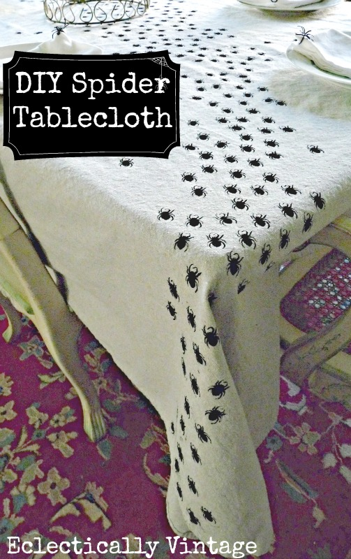 Kelly from EclecticallyVintage shows us how to make this creepy crawling spider tablecloth - it'll give your guests quite a scare!