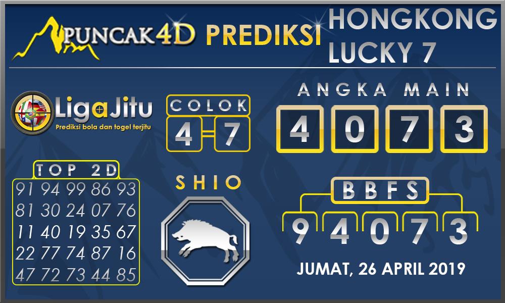 PREDIKSI TOGEL HONGKONG LUCKY7 PUNCAK4D 26 APRIL 2019
